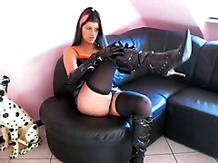 Latex tight dress and hot tight boots