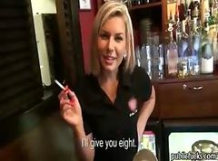 Beautiful amateur blonde barmaid paid sex in public