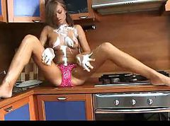 Petite Naked Teen Wet in Kitchen