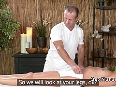 Oiled blonde fucked in massage room