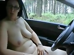 Pawg driving in the woods and pissing