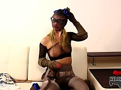 darina enjoys her nylon mask