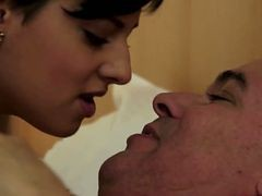 Young Short Hair Brunette With Older Guy