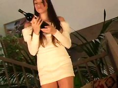 Hot Teen Cums With Wine Bottle