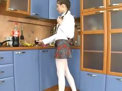 schoolgirl ass fucked in the kitchen